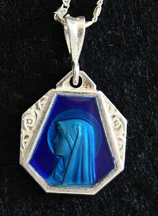 Vintage Silver Lourdes Holy Mary Blue Enameled on Both Sides