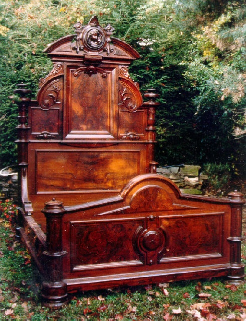 American Victorian high back walnut bed c1855.  Now that is one helluva bed!