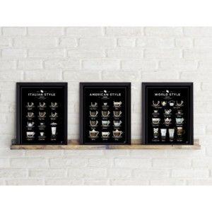 Sada 3 plakátů Follygraph Coffee Prints Black, 21x30 cm