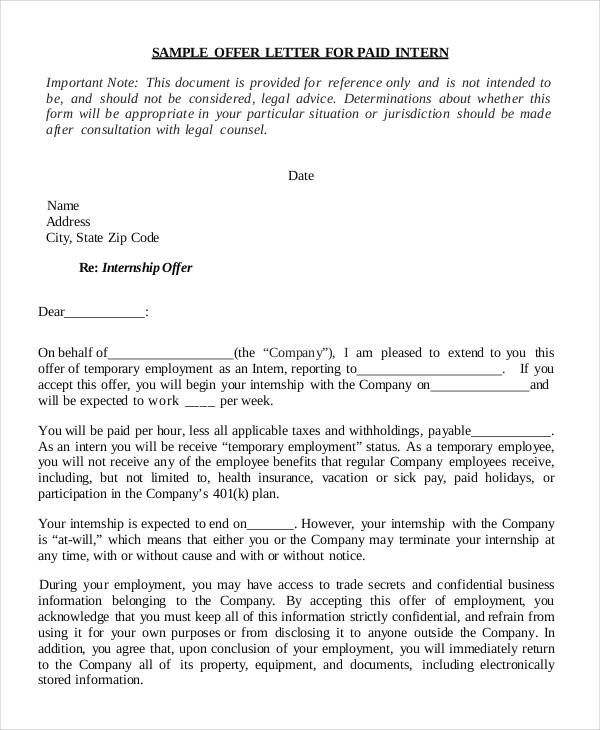 internship offer letter template free word pdf format download - internship acceptance letter