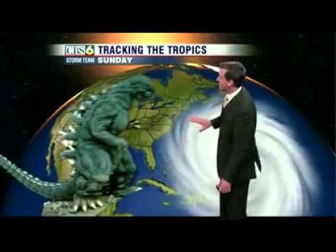 Volcanoes & Godzilla in a weather forecast? Yup. This looks about right.