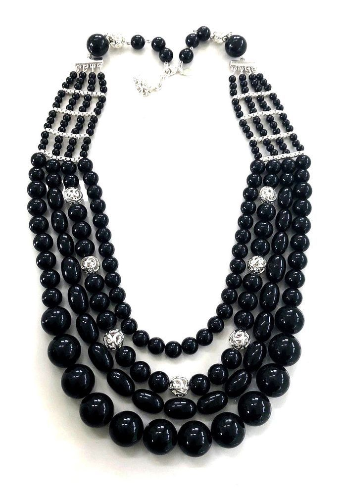 2f14a1dc6 QVC Joan Rivers PRIVATE COLLECTION 4 STRAND Black Silver Beaded Necklace  #JoanRivers #FourRowStrand #EngagementWeddingAnniversaryValentines