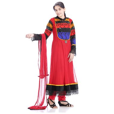 Exclusive #Anarkali suit from #Returnfavors. Featuring a gorgeous border and classy embroided neckline, crafted with Thread work http://www.returnfavors.com/festival-designer-golden-pendant-red-anarkali-suit-by-returnfavors/