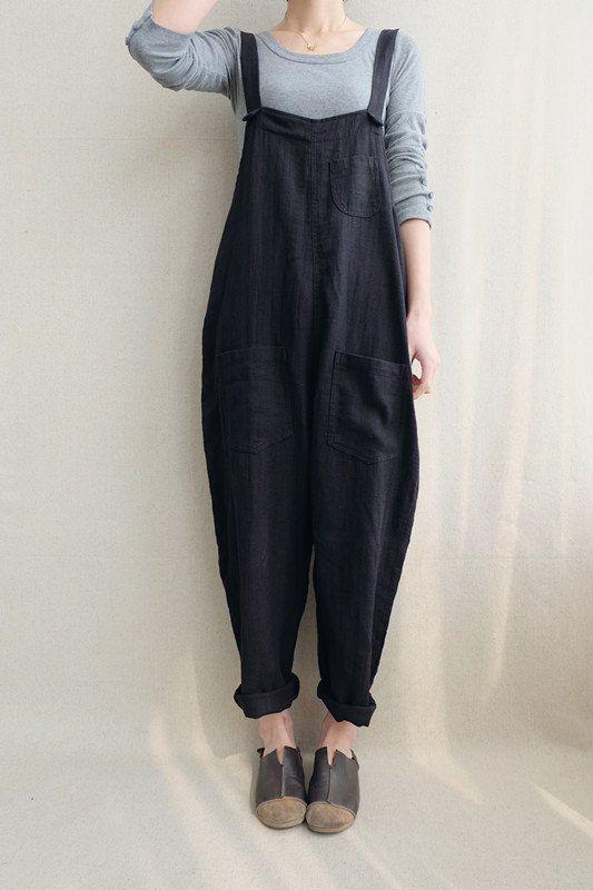 Women Casual Linen Jumpsuits Overalls Pants With Pockets Vintage Linen Harem Pants 3