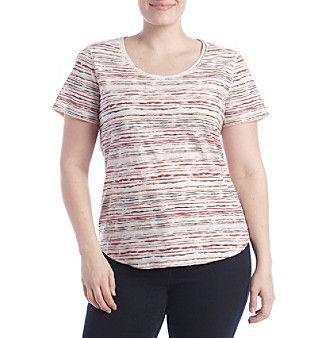 Ruff Hewn Plus Size Faded Striped Shirttail Top