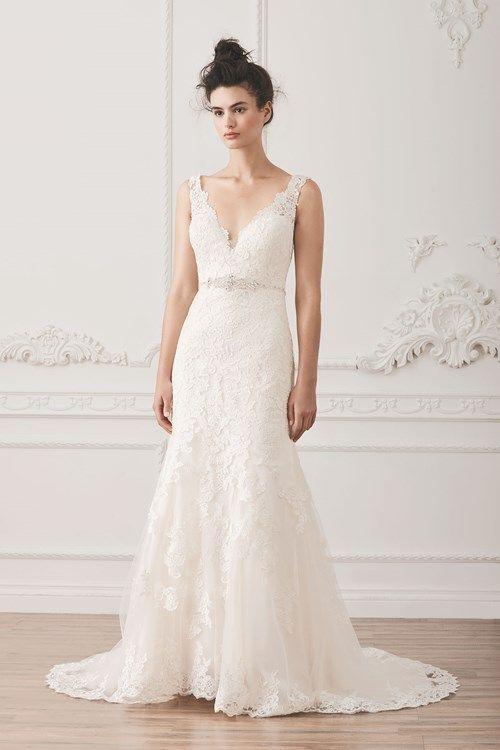 Henry Roth V-Neck Fit and Flare in Lace | KleinfeldBridal.com