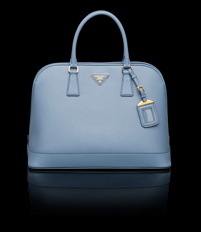 Prada Saffiano Leather Two-Handle Bag in Pale Blue $2,430 | Bags ...