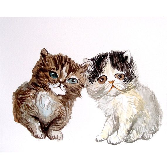CUSTOM KITTENS PORTRAIT Original watercolor painting by deodea, $40.00
