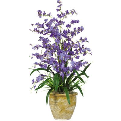 Nearly Natural Triple Dancing Lady Silk Orchid Flower in Purple