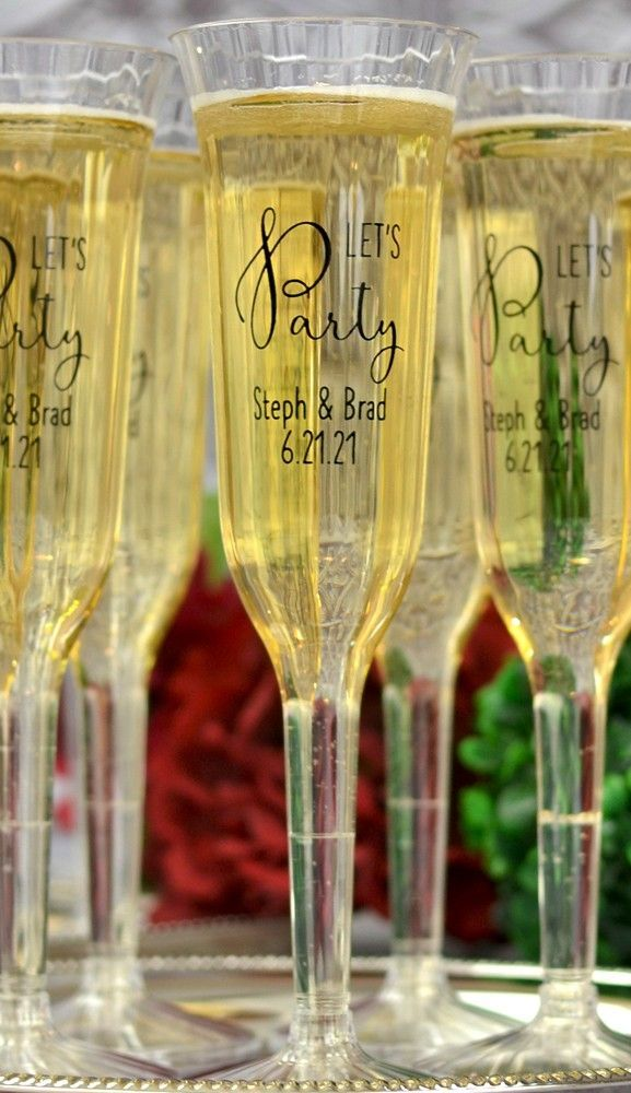 5 Oz Personalized Clear Plastic Champagne Flutes Plastic Champagne Flutes Toasting Flutes Wedding Wedding Toasting Glasses