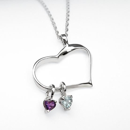 customized heart of hearts birthstone necklace.  Great idea for moms and their children!