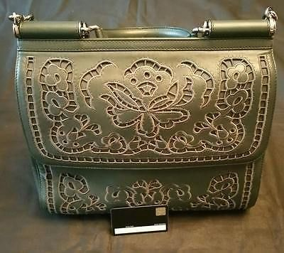 Authentic DOLCE & GABBANA  MEDIUM CUT-OUT NAPPA LEATHER SICILY BAG