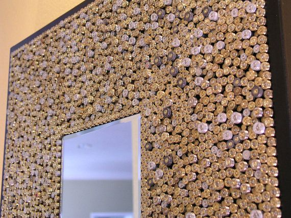 Original Bullet Casings Art Mirror made with 1000s of empty bullet casings  home sweet home