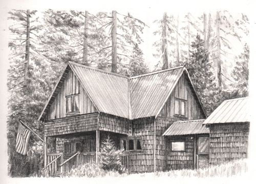 Pencil drawing of wilsonia cabin pencil pinterest Cabin drawings