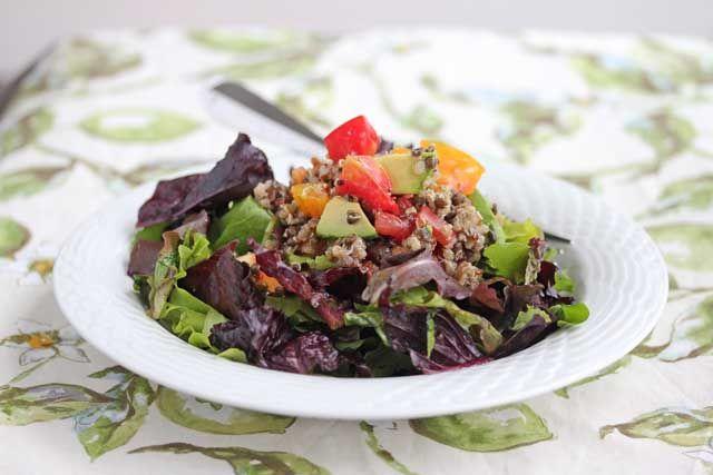 Quinoa And Black Lentils With Mixed Greens