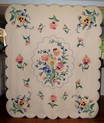 Antique Applique Pansy Quilt Floral Quilt
