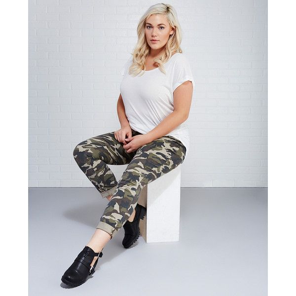 Ymi Jeanswear Inc.  Distressed Camo Roll Cuff Skinny Jeans ($40) ❤ liked on Polyvore featuring jeans, camouflage, plus size, wet seal, plus size distressed skinny jeans, distressed skinny jeans, plus size camo skinny jeans, plus size skinny jeans and camo skinny jeans