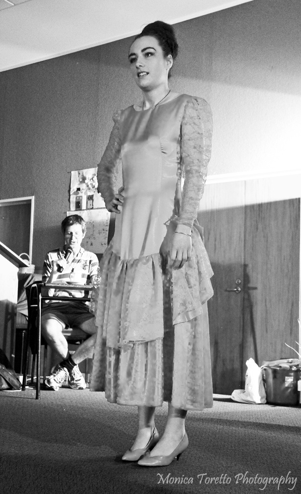 Upcycle Fashion Show in Invercargill. Model Kayla. June 14, 2013.