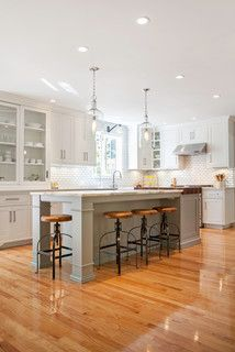 April's Kitchen - traditional - kitchen - boston - by New England Design Works | layout and island seating