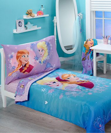 This Blue Frozen Magical Sisters Toddler Bedding Set is perfect! #zulilyfinds