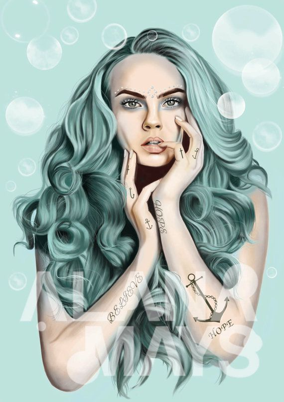 Believe limited edition 3/10 , selling ten worldwide, cara delevingne, by AlanaMaysCreations on Etsy, etsy business, $150 A2, mermaid , the little mermaid, fashion illustration