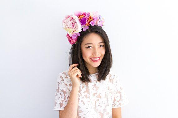 New: pink cream purple statement peony flower crown // by kisforkani