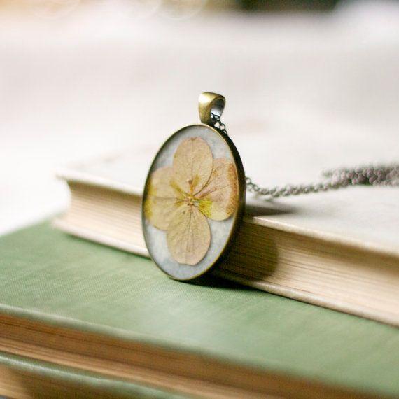 pressed flower necklace cream pink hydrangea by StudioBotanica, $37.00