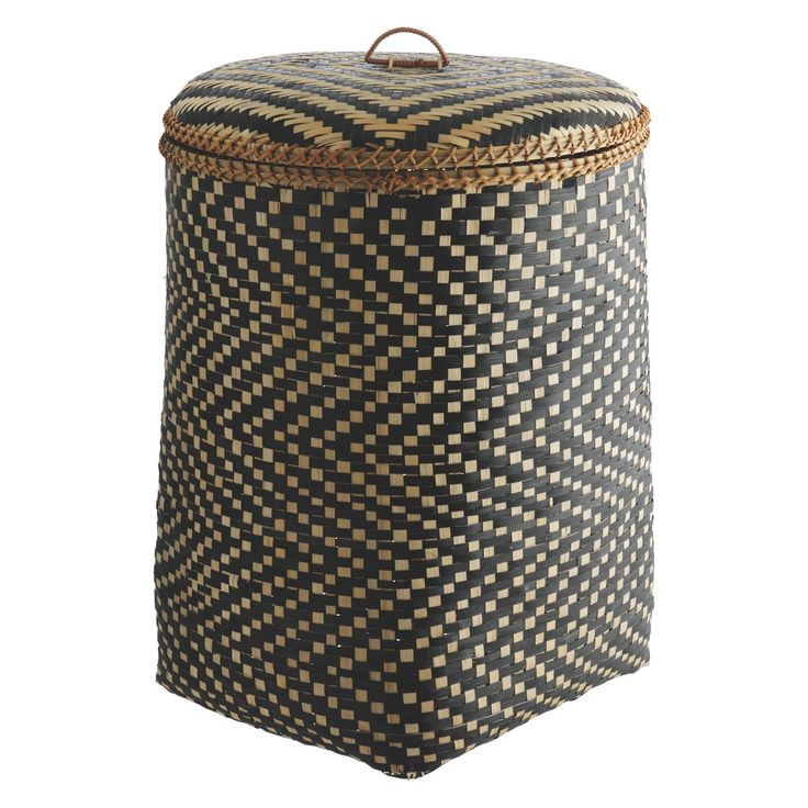 IDAHO Bamboo patterned laundry basket with lid