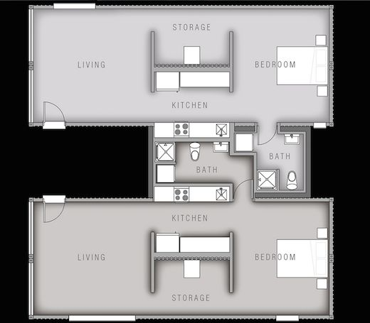 Container housing plan the living area will open out into for Apartment plans with courtyard