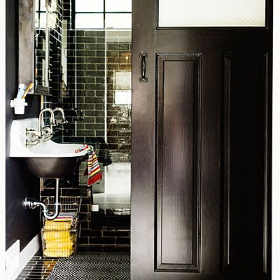 It's a blackout! Going dark in a small bath is a foolproof way to gain major style.