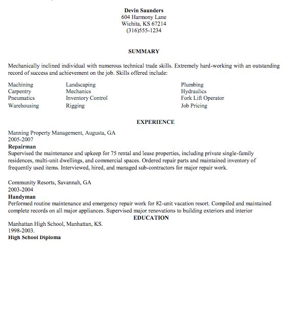 handyman resume sample httpexampleresumecvorghandyman resume - Handyman Resume Samples