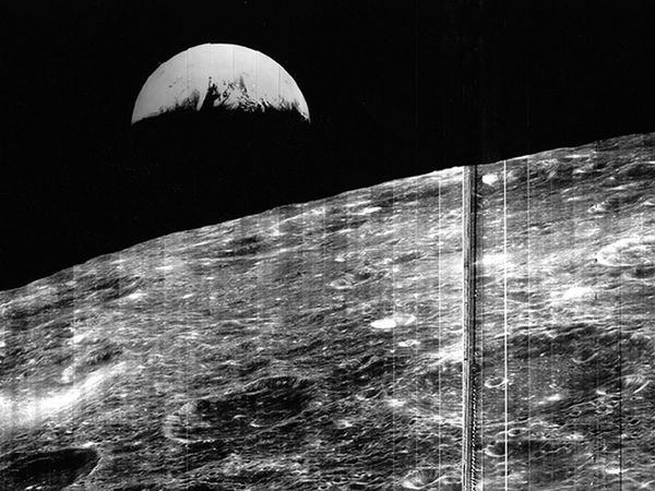 First Photo of Earth from the Moon taken by Lunar Orbiter 1 on August 23, 1966