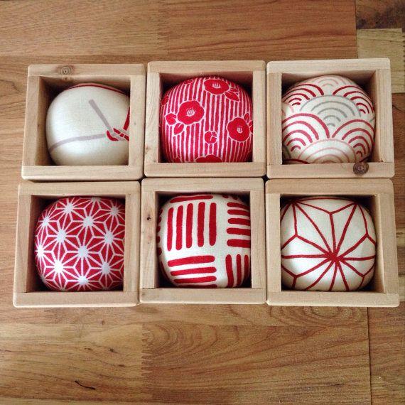 Lovely Japanese Sake Cup Pincushions/ Kawaii/ by JapaneseBOROshop