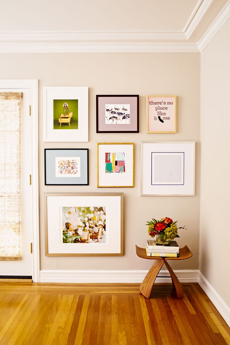 How to Create the Perfect Gallery Wall | Rue | framed & matted I like the idea of including a large picture so close to the ground