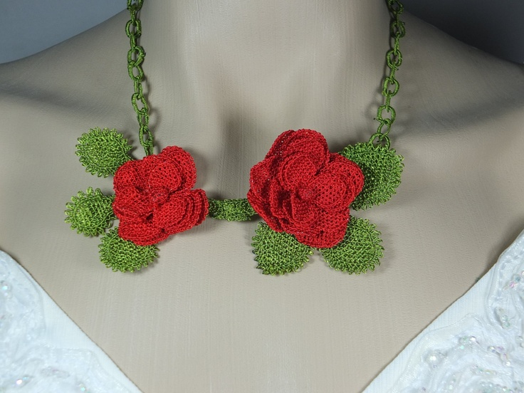Handmade needle lace necklace ,hand crochet red and green necklace, turkish oya necklace ,gift for her. $49.90, via Etsy.