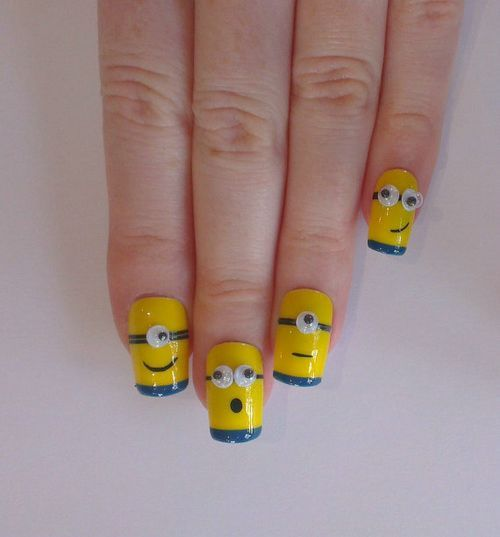 Minion Fake Nails Designs
