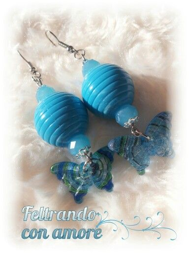 #orecchini con #farfalla di #vetro #butterfly #earrings