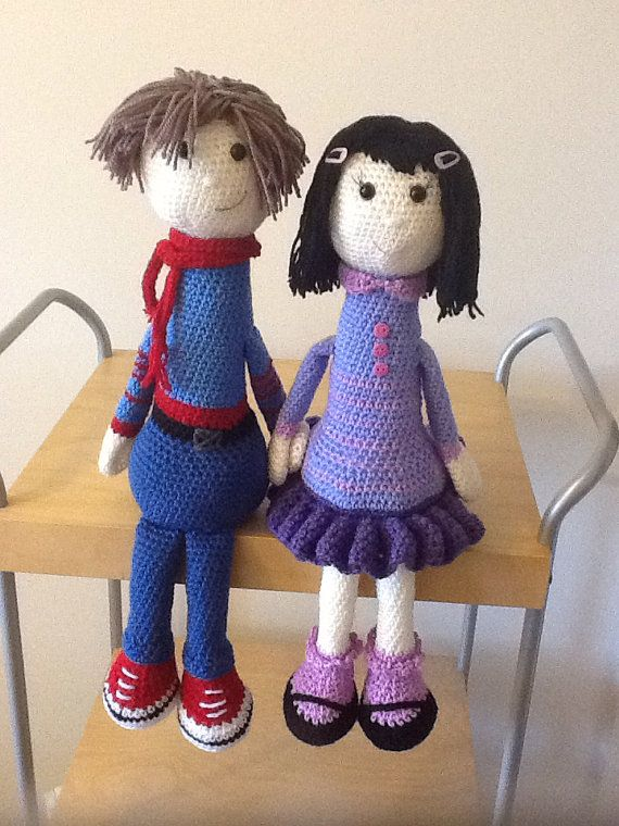 This listing is for the PDF PATTERN and not the finished items. It is the pattern of two dolls, a boy and a girl, which are approximately 45 cm