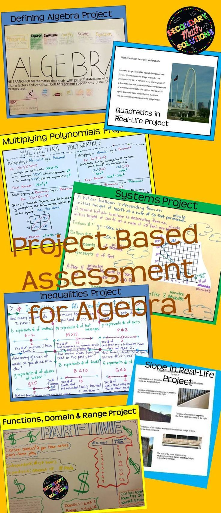 This is a bundle of 12 Algebra Projects. You can buy all twelve here at a reduced price instead of buying them individually in my store. Great for project-based assessment or alternate assessment! All projects come with complete directions, student examples, and rubrics. To see specific descriptions of each project, simply click on its link above. As I add more projects to this bundle, the price will only increase. Buy it now and you will get all additional projects for free!!