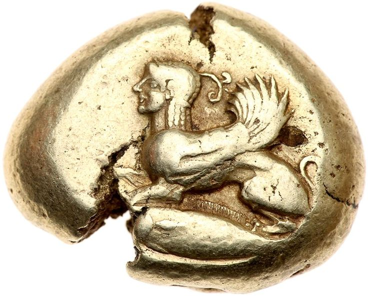 Mysia, Kyzikos. Electrum Stater (16.07 g), ca. 550-500 BC Choice VF Sphinx seated left; below, tunny left. Quadripartite incuse square. Von Fritze 72; SNG BN 200. Deep-cracked planchet. Well centered and boldly struck. A pleasing depiction of the classic sphinx. Estimated Value $5,000 - 7,000. #Coins #Gold #Ancient #MADonC