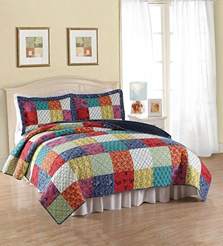 American Traditions Halifax Cotton 3-Piece Hand Crafted Patchwork Multicolor Full/Queen Size Quilt Set Include 1 Quilt, Two Shams - Cotton Microfiber Synthetic Fiber, 2015 Amazon Top Rated Quilts & Sets #BabyProduct
