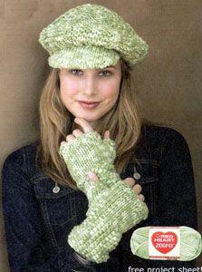 Knit Newsboy Hat & Fingerless Gloves LW1616 | Free Patterns