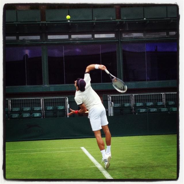 Novak Djokovic practicing on Court 18, Wimbledon 2012.  Photo credit: Tennis by Lisa