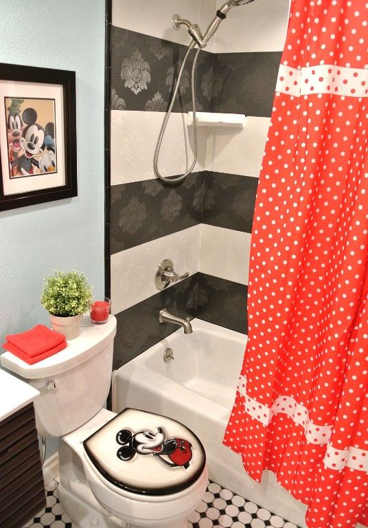 Kids' MICKEY MOUSE bathroom with beautifully tiled tub/shower combination