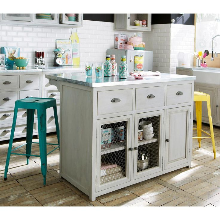ilot central 120 cm zinc cuisine pinterest bars industriels turquoise et industriel. Black Bedroom Furniture Sets. Home Design Ideas