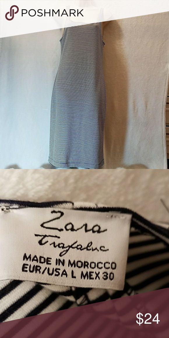NEW. Zara striped long dress New. Zara stripe long dress Color: black and white Stretchy. Size: large Condition: never worn but no tag. Thanks for looking remember to be your own kind of beauty. Zara Dresses Maxi