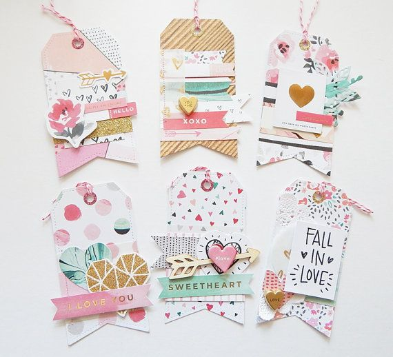 Crate Paper 'Hello Love'Set of 6 Handmade Embellished Tags - For Scrapbooking, Project Life,Planners and Cardmaking