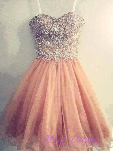 Blush Pink Short Prom Dress Ball Gown Tulle Homecoming Dresses With Sweetheart Neckline Rhinestone Beaded Gowns For Teens - Thumbnail 1