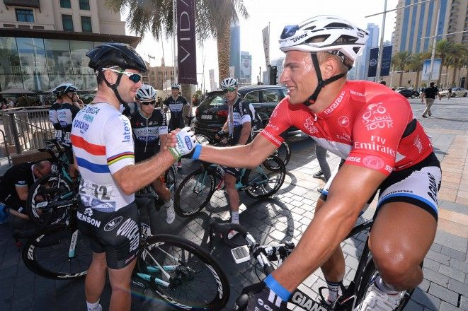 Gallery: 2014 Dubai Tour, stage 4 - VeloNews.com - Mark Cavendish and Marcel Kittel share a moment. Photo: Tim De Waele | TDWsport.com