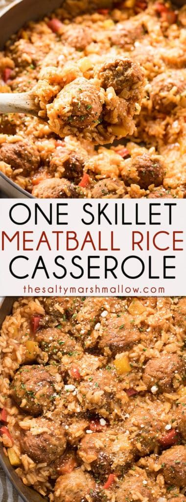 #meatballs #rice #onepot #easydinner One Skillet Italian Meatballs and Rice is an easy one pan casserole packed full of flavor! Italian meatballs come together with rice, garlic, onions, peppers, in a flavorful tomato sauce for an easy weeknight dinner the whole family will love.